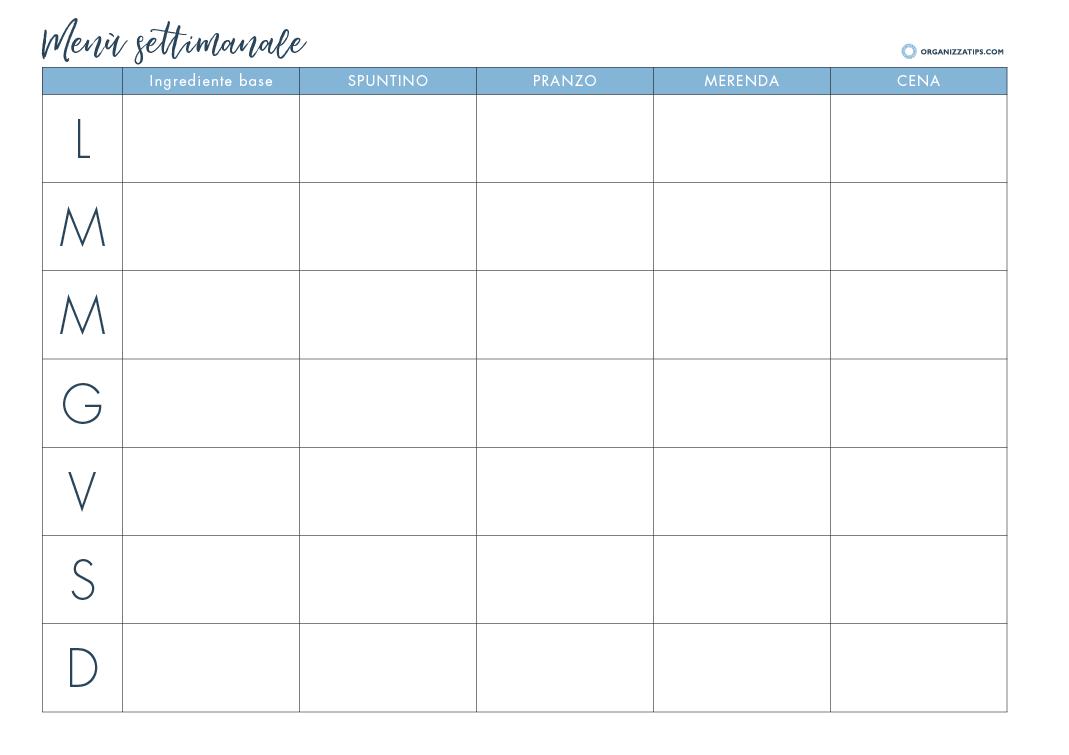 Organizzare Il Menu Della Settimana progettare il menù settimanale - organizzatips