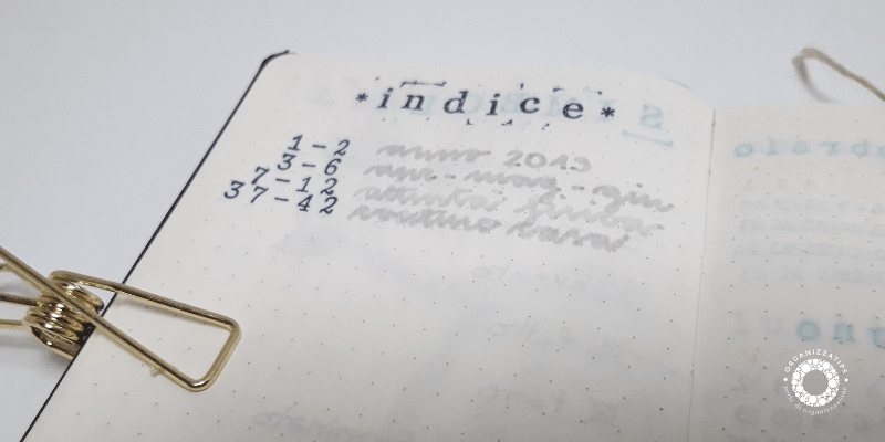 Bullet Journal: l'indice